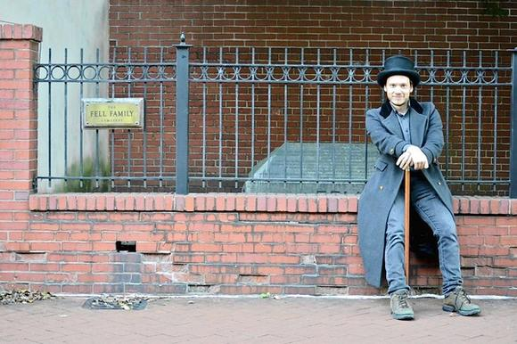 Tim Paggi strikes a dapper pose at the Fell family crypt.