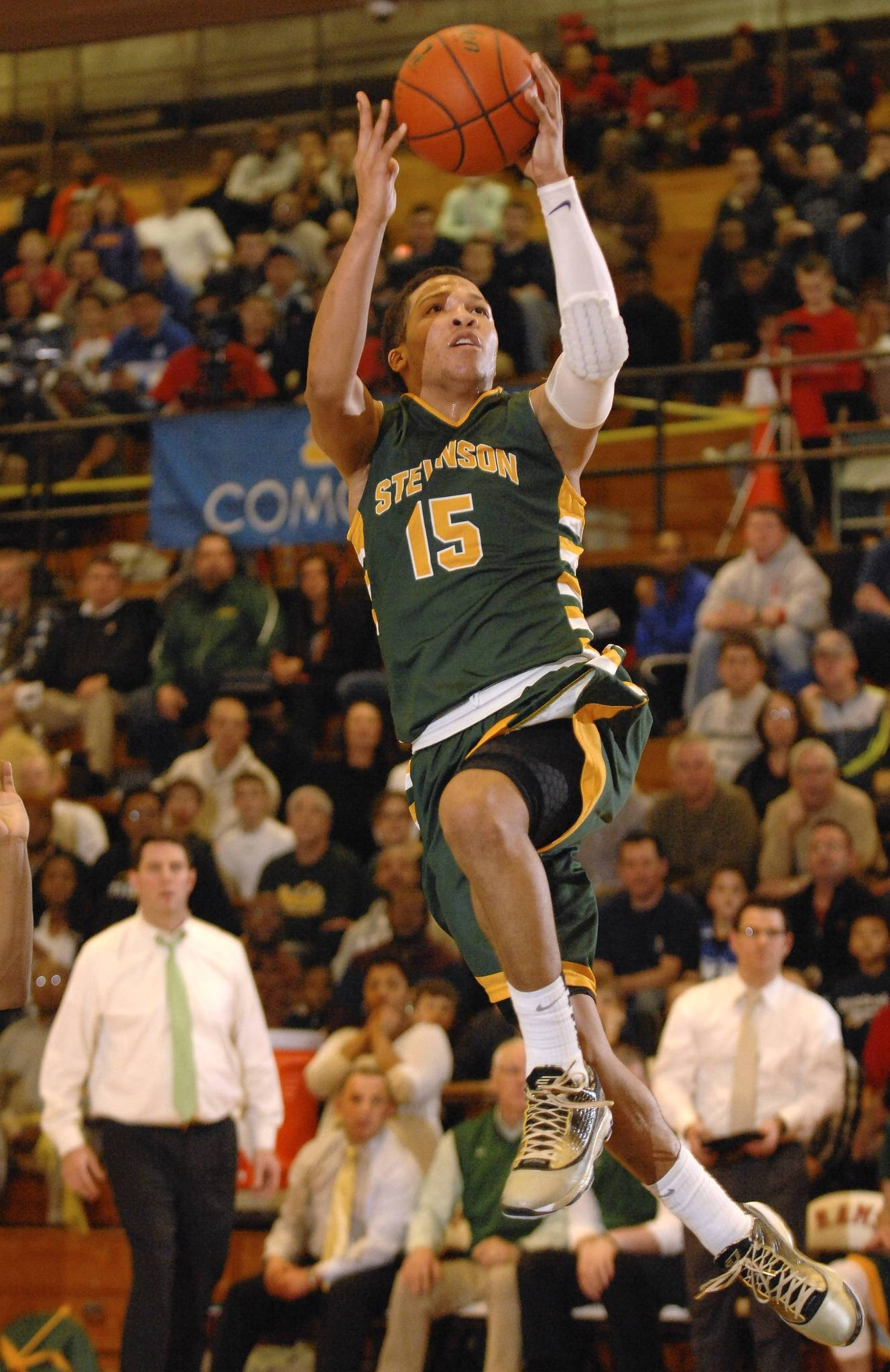 Stevenson's Jalen Brunson (32 points) goes up to score. Stevenson beat Marian Catholic 76-66 at Glenbard East's When Sides Collide 2014 Tournament on Saturday, January 25, 2014.