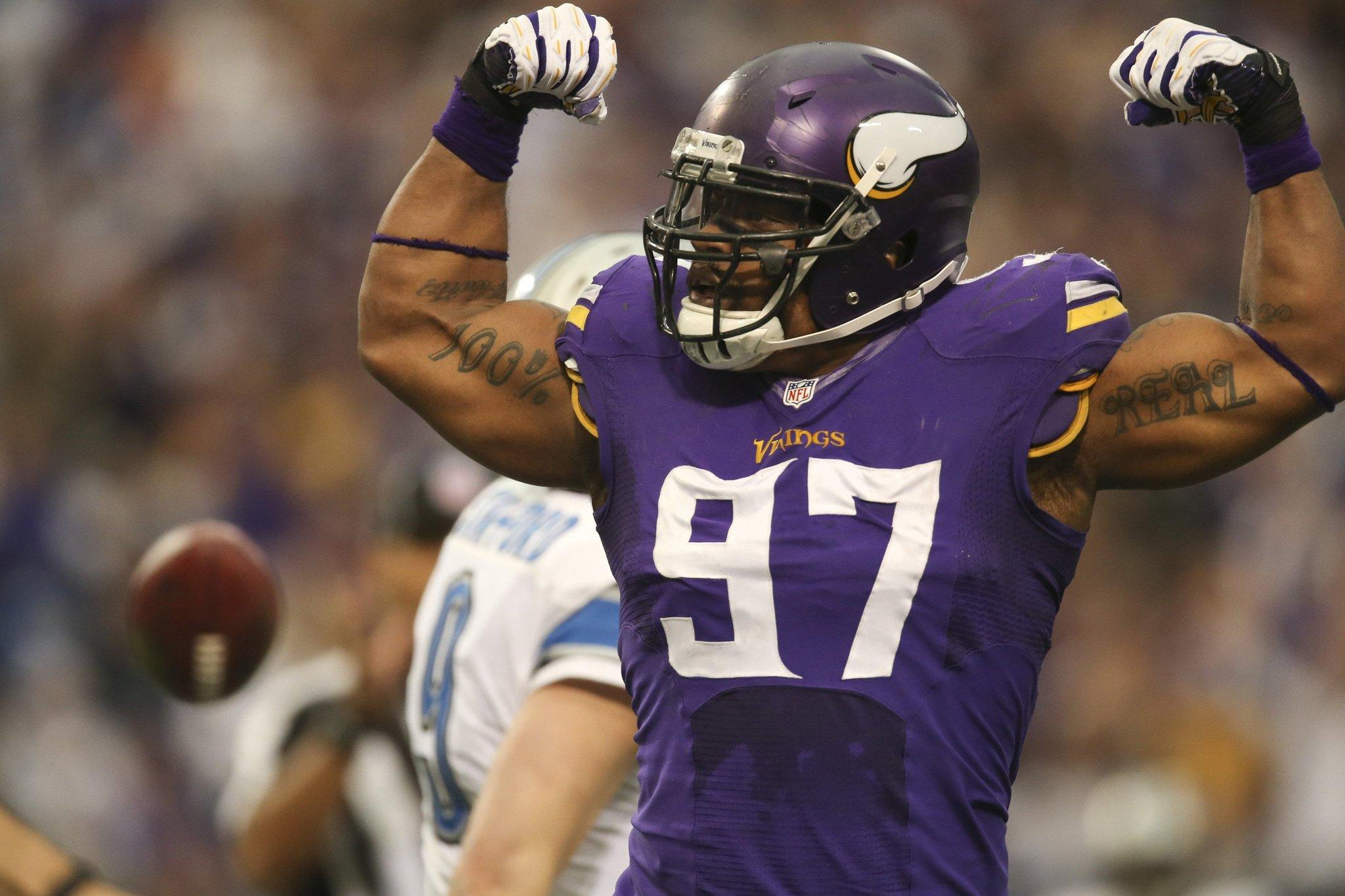 Minnesota Vikings defensive end Everson Griffen celebrates a sack.