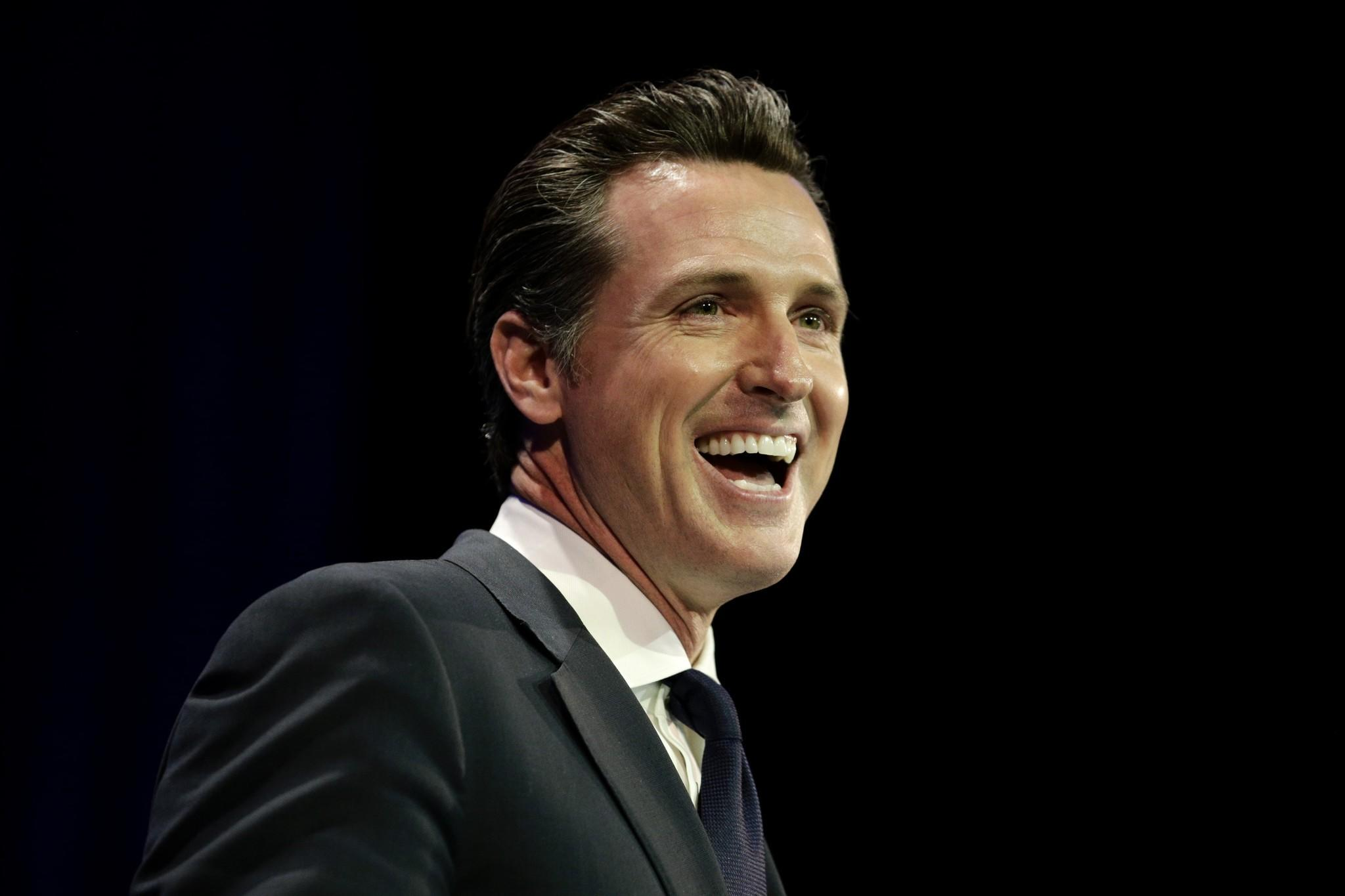 California Lt. Gov. Gavin Newsom speaking at the state Democratic convention Saturday in Los Angeles.