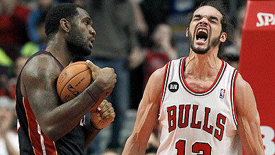 Joakim Noah fires up Bulls, dad in win over Heat