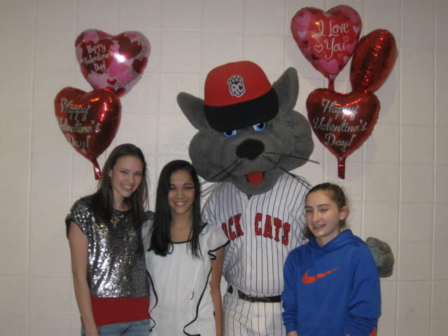 "Middle School of Plainville Friends of Rachel Club students with ""Rocky"" at the school-wide fundraiser dance."