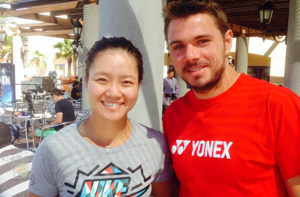 Australian Open champions Li Na and Stanislaw Wawrinka pose for a photo at Indian Wells on Sunday.