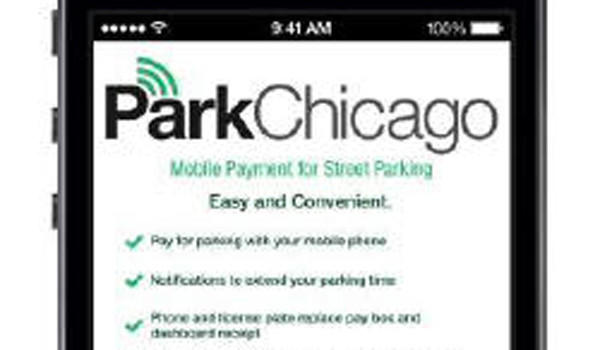 Mockup of a parking payment app set to debut in Chicago this spring.