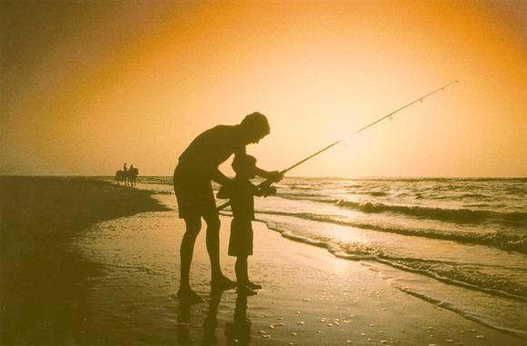Fishing on the beach at Amelia Island