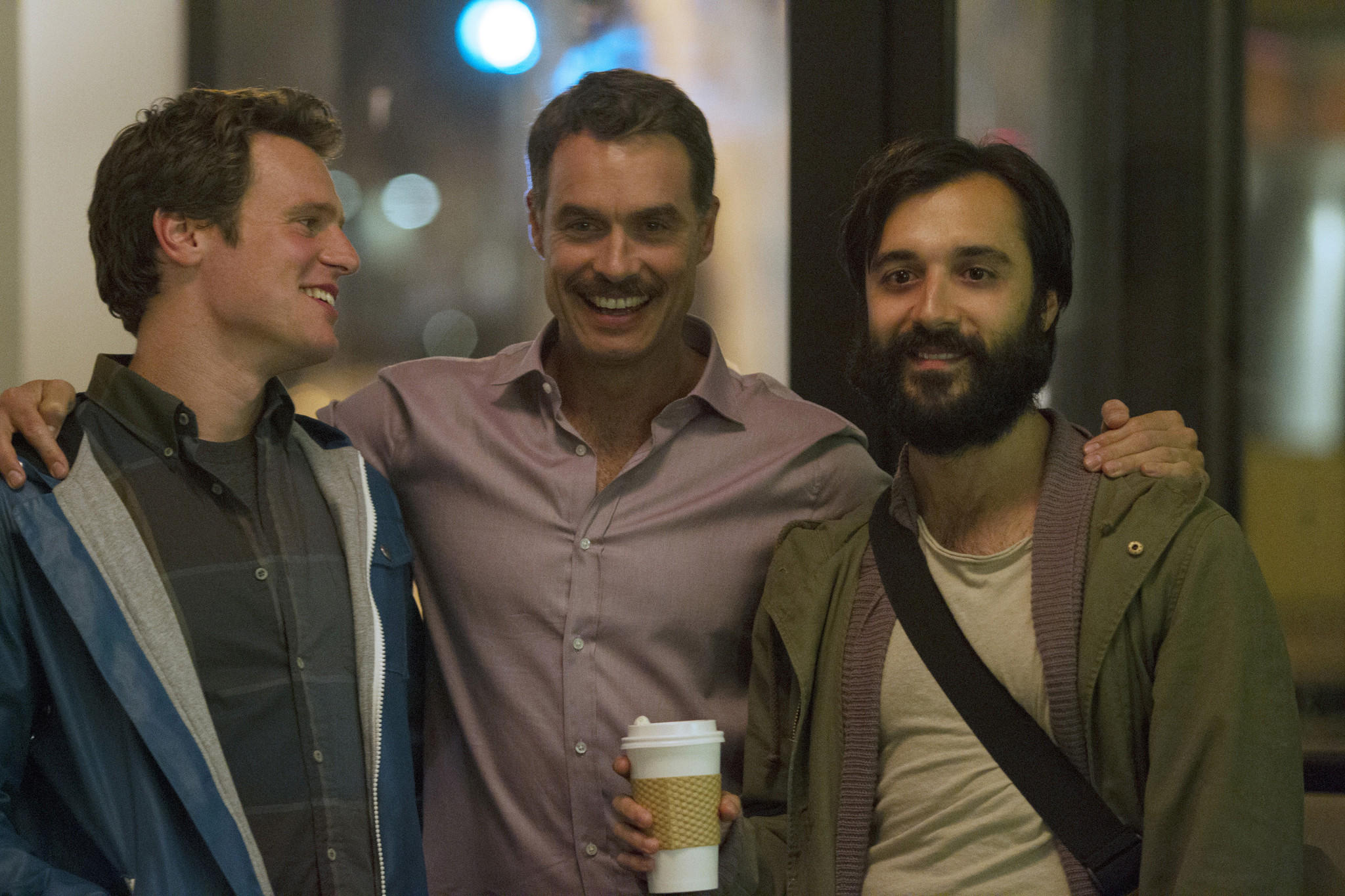 """L-R: Jonathan Groff, Murray Bartlett and Frankie Alvare on the season finale of """"Looking."""""""