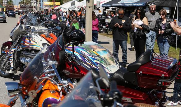 Bikers fill Beach Street during Bike Week in Daytona Beach on Saturday, March 8, 2014.(Stephen M. Dowell/Orlando Sentinel)