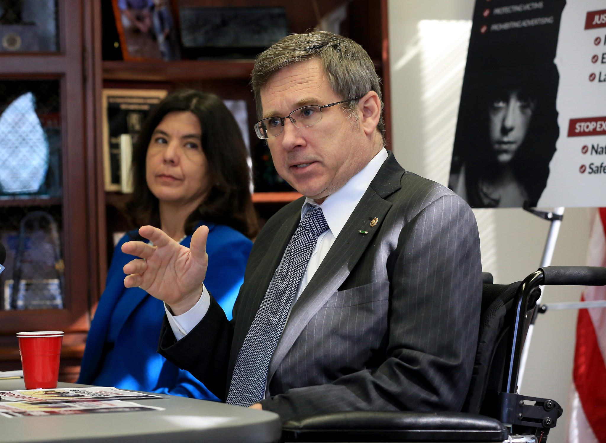 U.S. Sen. Mark Kirk (R-Ill.) and Cook County State's Attorney Anita Alvarez the fight against sex trafficking.
