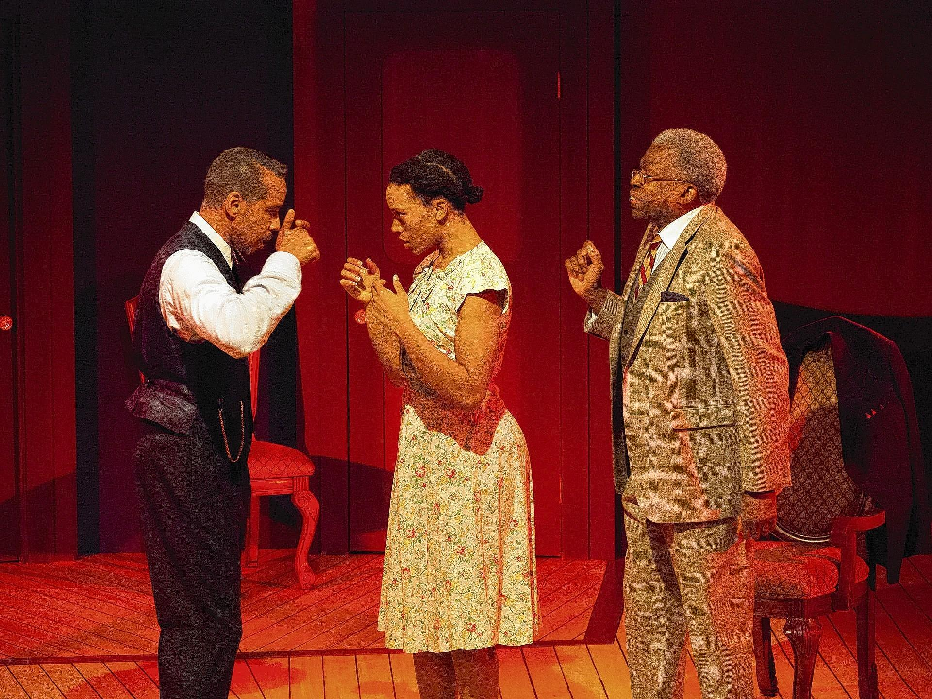 "Geri-Nikole Love and Bob Johnson in a scene from the world premiere of ""Higgins in Harlem"" at West Hartford's Playhouse on Park."