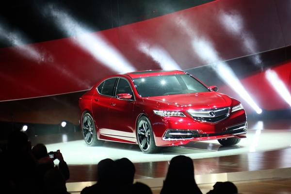 The 2015 Acura TLX is revealed during the 2014 North American International Auto Show held at Cobo Center in downtown Detroit.