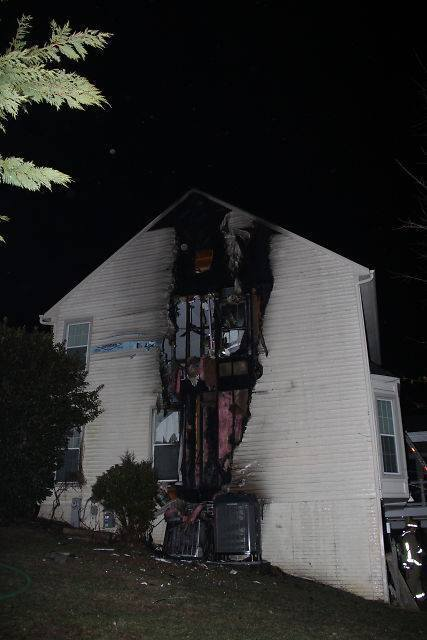 Howard County Fire and Rescue Service units battled a structure fire in the 3800 block of Woodville Lane in Ellicott City on Saturday, March 8. Officials said the fire appeared to have originated on the exterior and extended into the second floor and attic.
