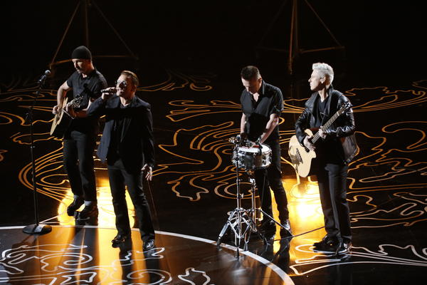 "U2 performs its nominated song, ""Ordinary Love,"" at  the Academy Awards on March 2 in Hollywood. The band is still on track to release its new album this year."