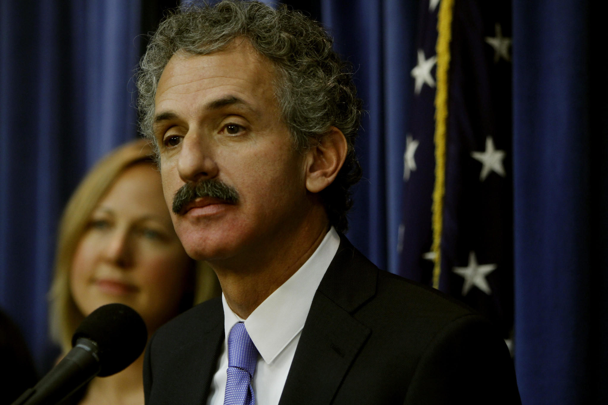 City Attorney Mike Feuer holds a press conference in his office in Los Angeles on Dec. 27, 2013.