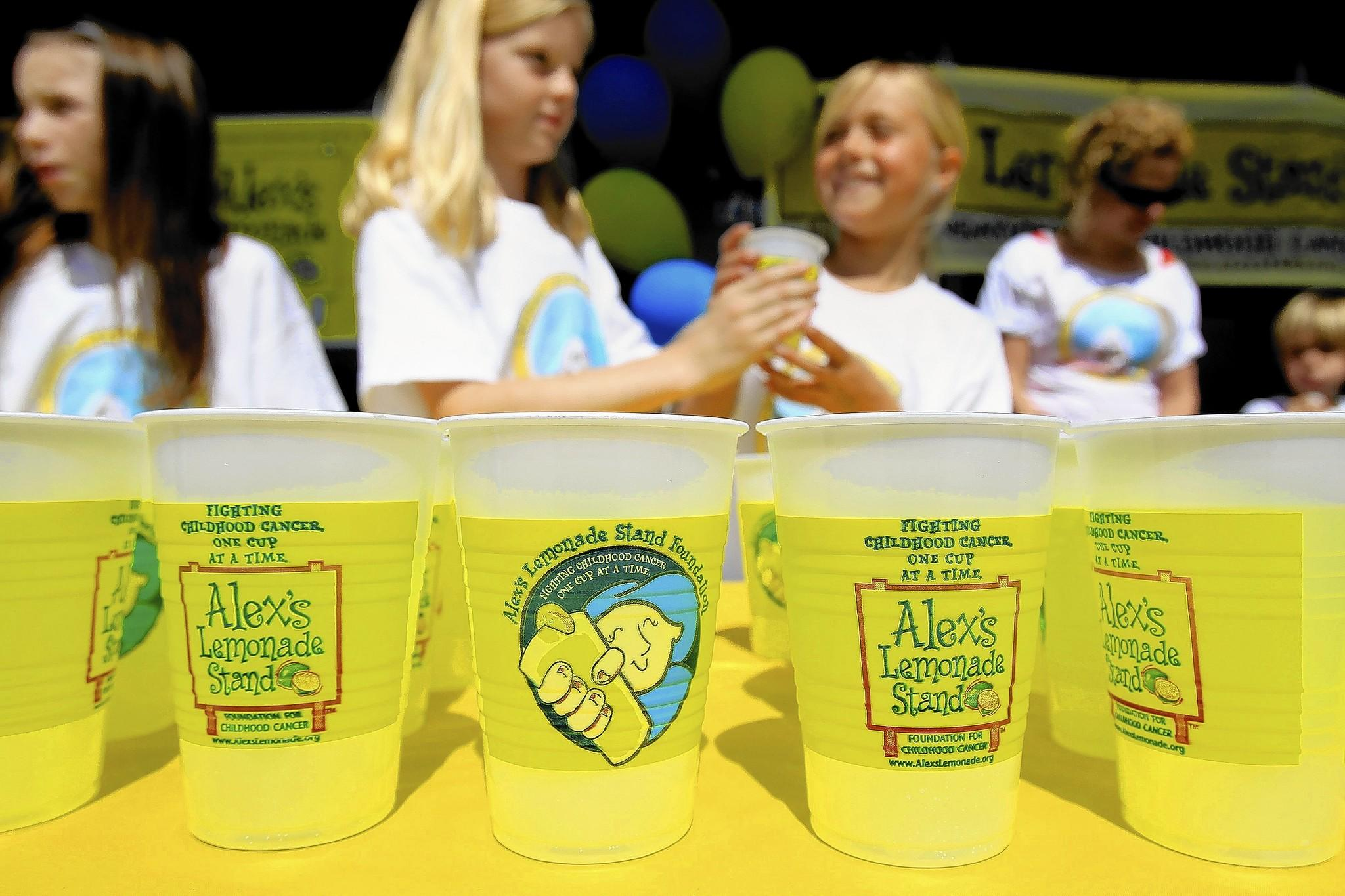 Members of the Lemonade Business Club at El Morro Elementary School help raise money for Alex's Lemonade Stand Foundation at lunchtime. All the money raised will go toward funding research for childhood cancer. Each cup of lemonade was sold for $1.