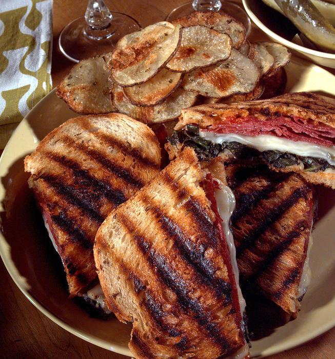 Grilled swiss chard reuben