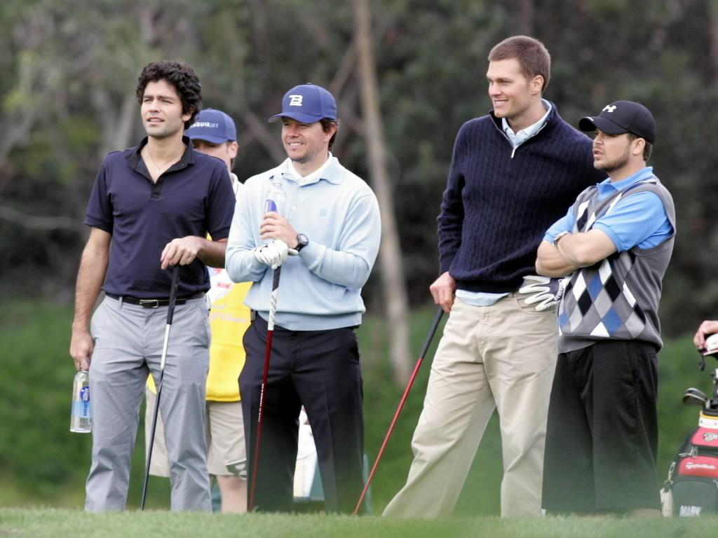 "Adrien Grenier, left, Mark Wahlberg, Tom Brady and Jerry Ferrara in HBO's ""Entourage."""