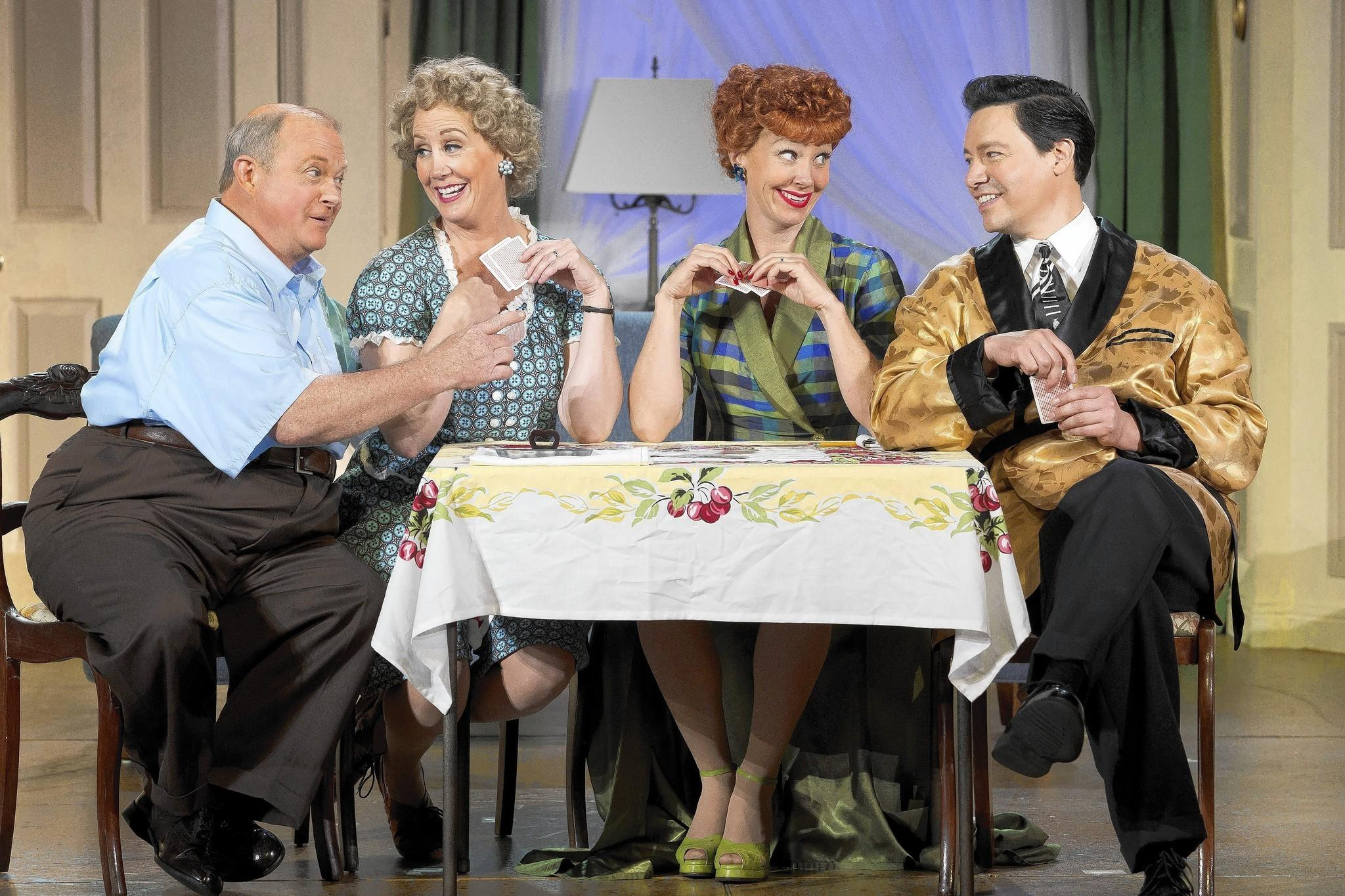 "Kevin Remington (Fred), Joanna Daniels (Ethel), Sirena Irwin (Lucy), and Bill Mendieta (Ricky) in ""I Love Lucy Live on Stage."""