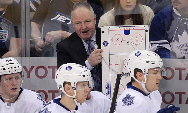 Toronto Maple Leafs Coach Randy Carlyle speaks to his players during a game against the Winnipeg Jets on Jan. 25. Carlyle, who guided the Ducks to a Stanley Cup title in 2007, holds nothing against his former employer.