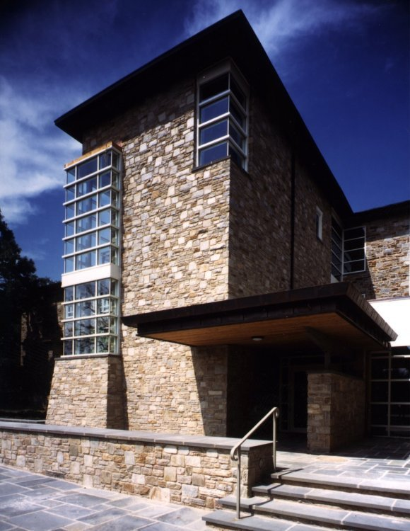 Van Meter Hall at Goucher College, showing the entrance and stair tower. The design by Ziger/Snead was selected for a design award from the American Institute of Architects.