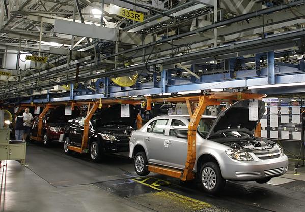 A Chevy Cobalt moves on the assembly line at the Lordstown Assembly Plant in Ohio. The Cobalt is among the vehicles recalled by General Motors Corp. for a malfunctioning ignition switch that has led to at least 13 deaths.