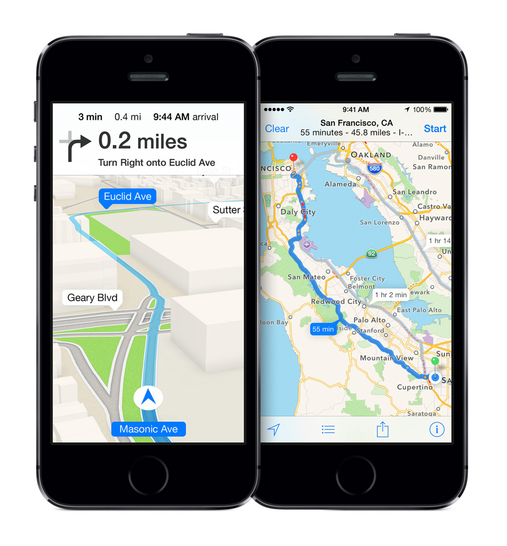 A screenshot of Apple Maps in iOS 7. A Tuesday report said Apple plans to improve the app in iOS 8.