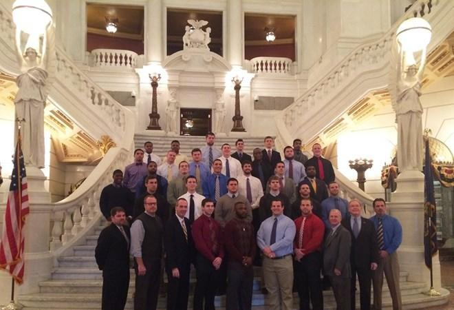 Members of the Bloomsburg University football team were honored at the State Capitol in Harrisburg on Monday for their accomplishments during the 2013 season.