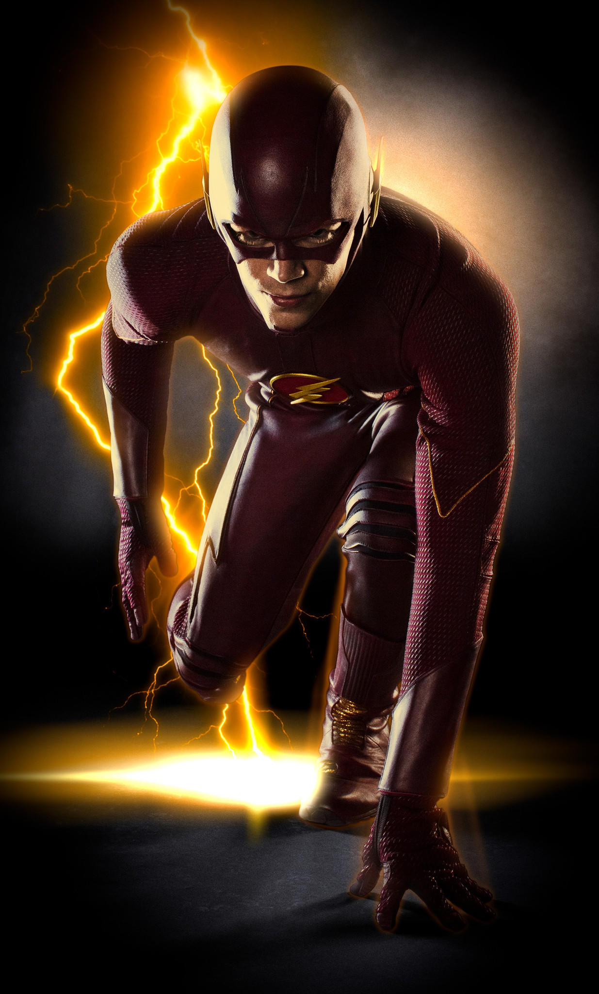 "Grant Gustin in his costume for ""The Flash."""