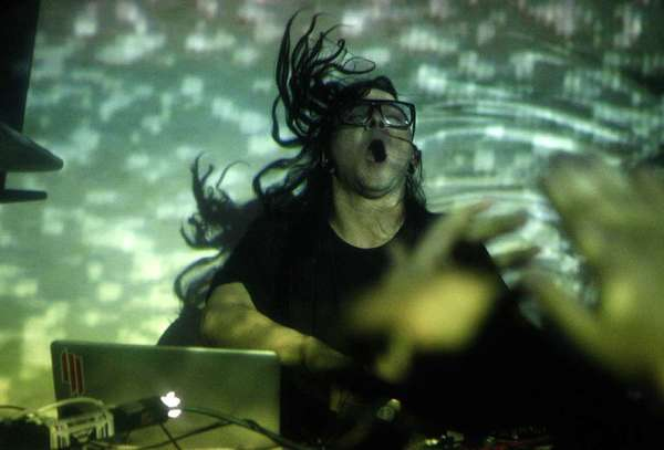 "Skrillex bangs during his performance at Dim Mak Studios in Hollywood on Jan. 24, 2012. And now, he's got a new album out, ""Recess."""