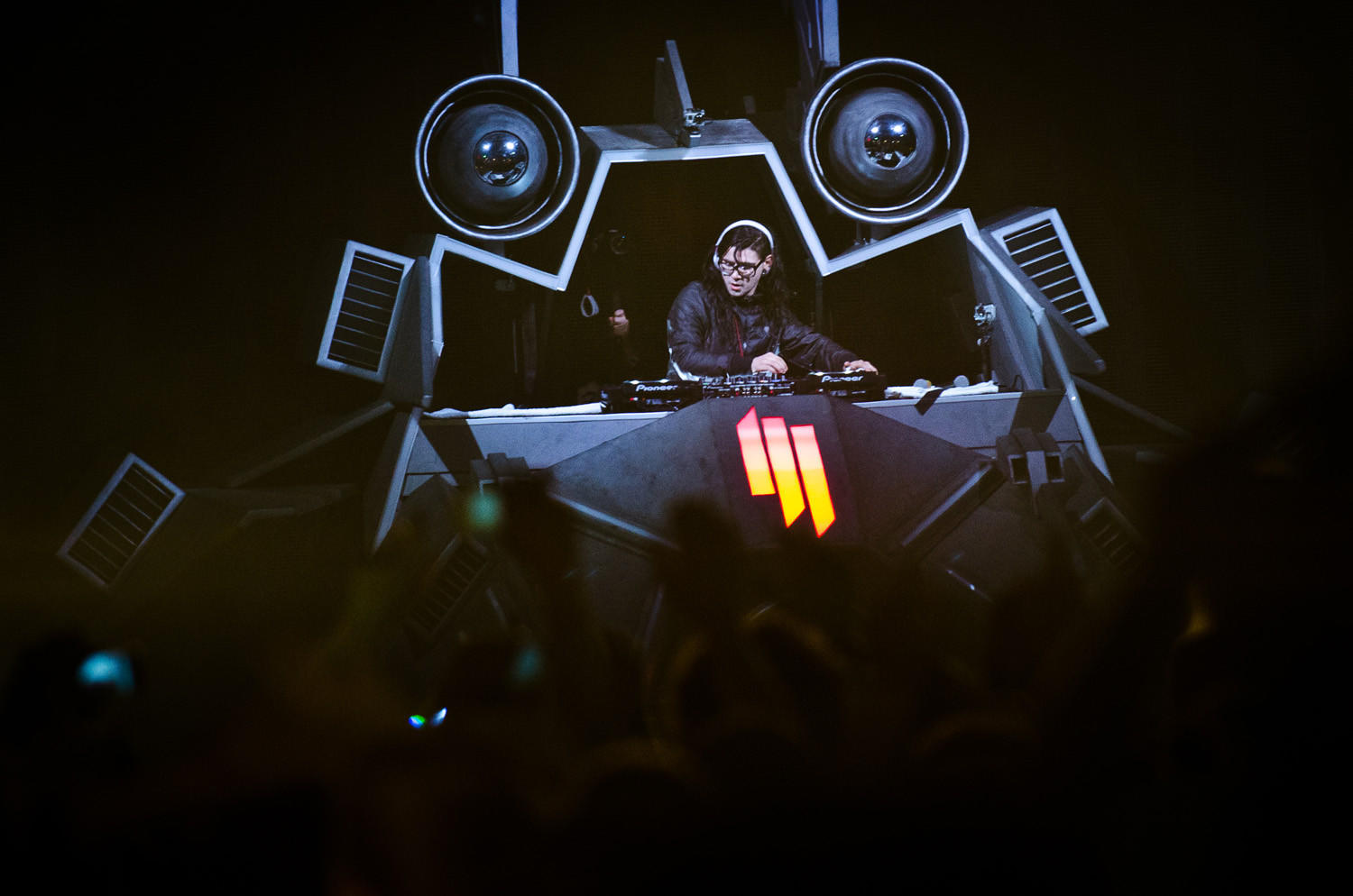 Skrillex closes out the west stage at the Virgin Mobile FreeFest at Merriweather Post Pavilion in 2012.