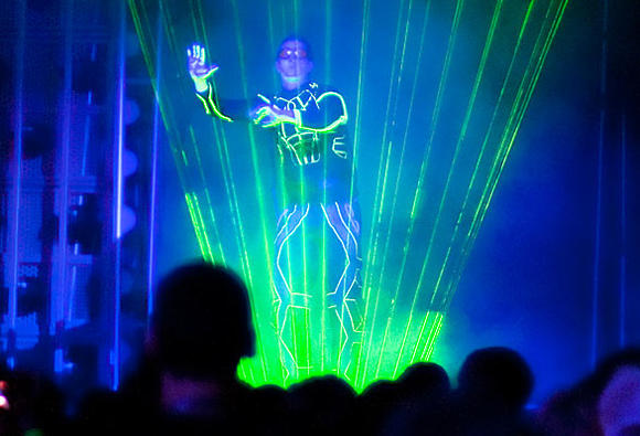 Laserman performs during the ElecTRONica dance party at Disney California Adventure.