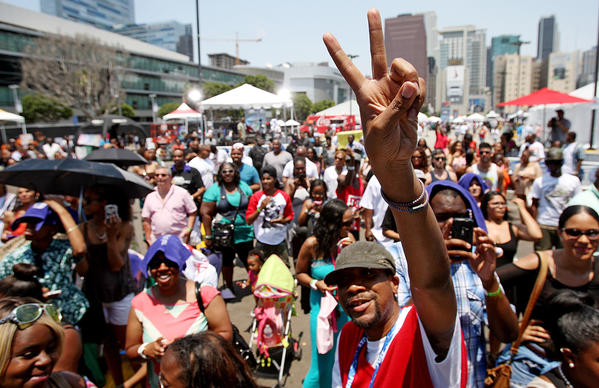 Crowds brave the heat to participate in the BET Awards Fan Fest at L.A. Live in Los Angeles on Saturday, June 29, 2013. Thousands of people attended the daylong festivities, which featured food, dancing and music.