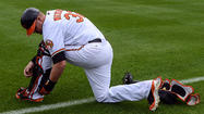 Orioles catcher Matt Wieters leaves Tuesday's game early after rolling right ankle