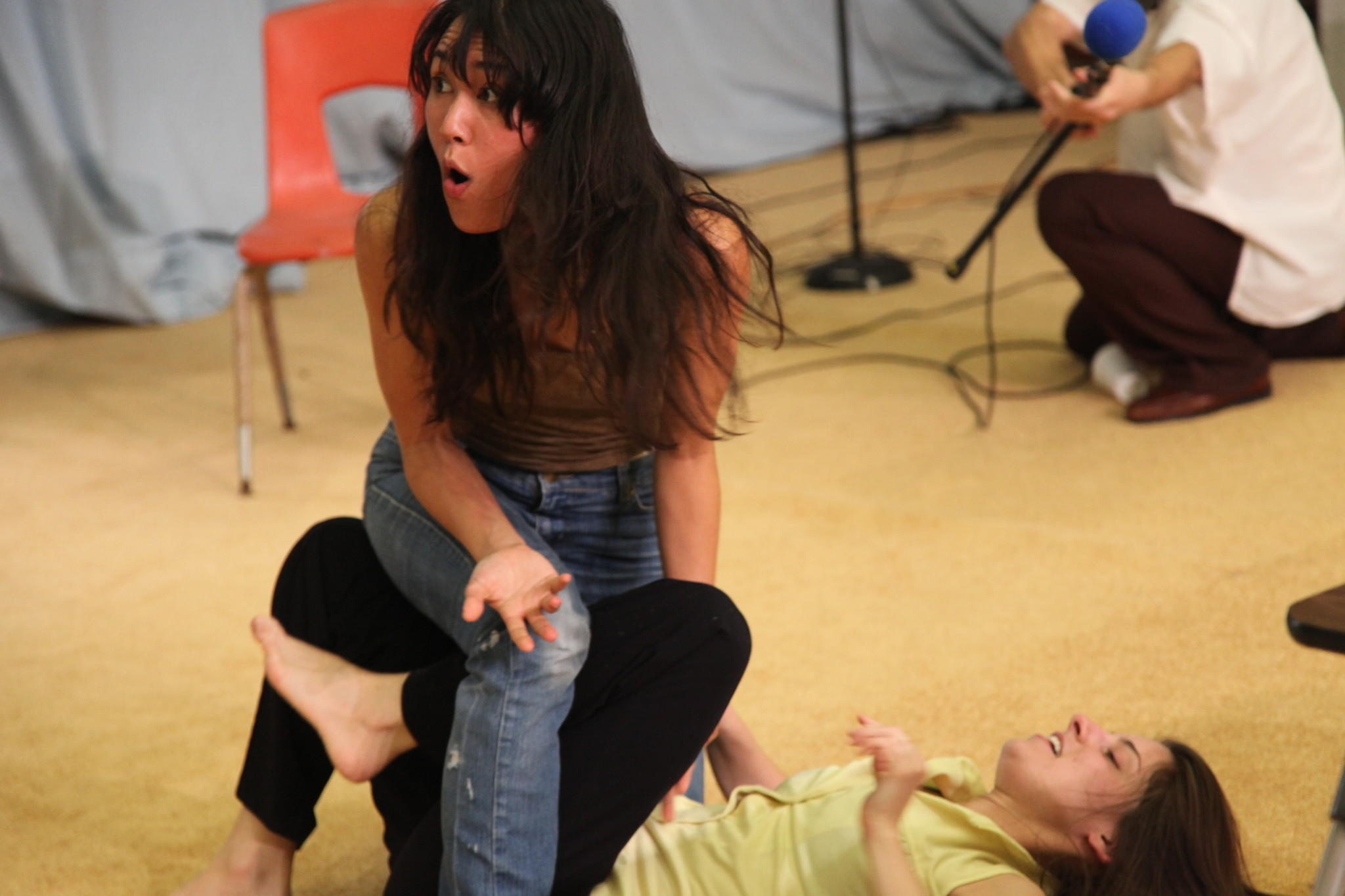 "Jennie Mary Tai Liu, left, and Catherine Ventura in ""Five Small Fires"" at Bootleg Theater."