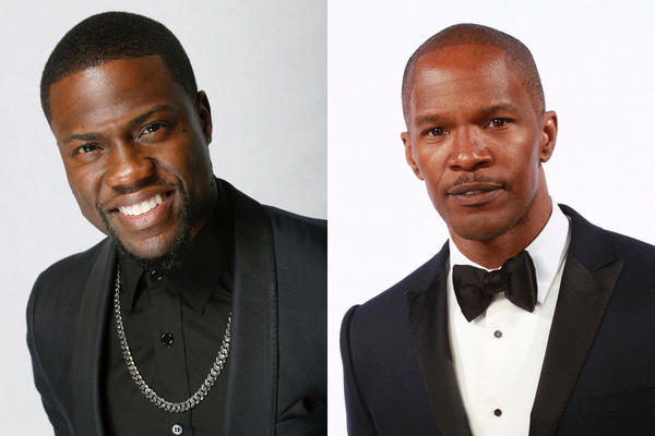 "Kevin Hart, left, and Jamie Foxx, both pictured at the NAACP Awards last month, are in talks to appear in the hitman movie ""Black Phantom."""