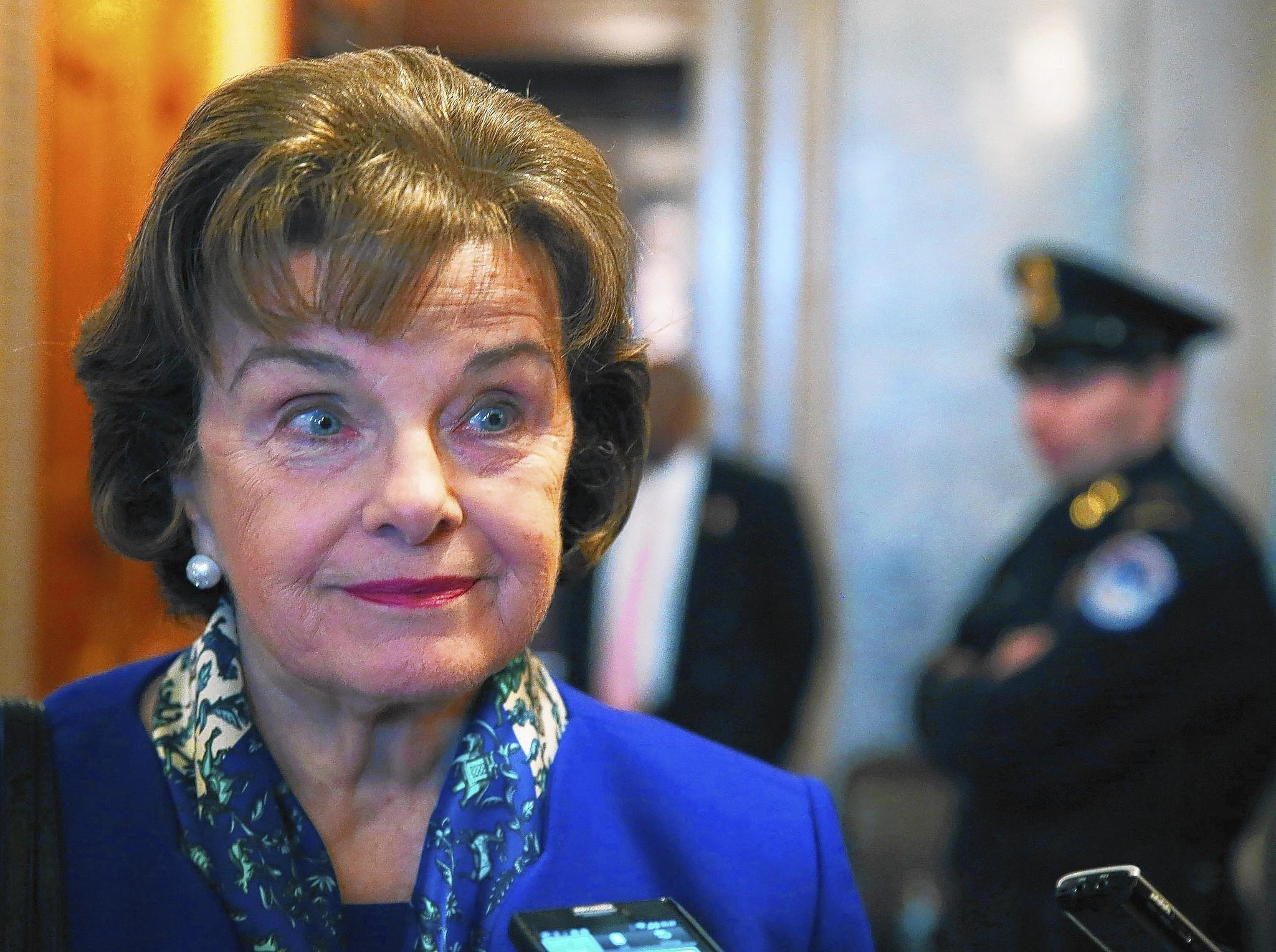 """Sen. Dianne Feinstein (D-Calif.) on Capitol Hill. She accused the CIA of possible crimes. """"I am not taking it lightly,"""" Feinstein said on the Senate floor."""