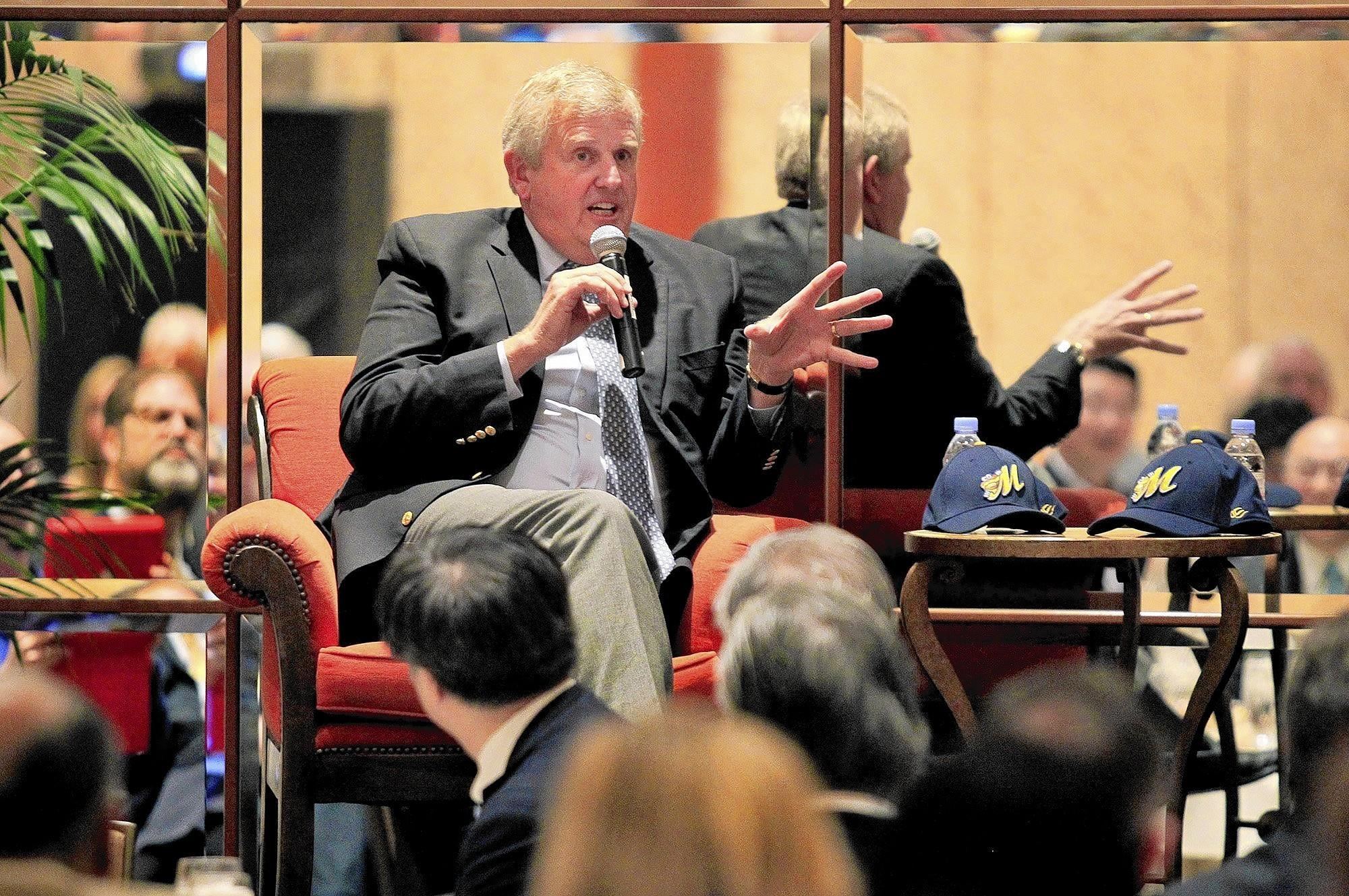 Champion Tour guest speaker Colin Montgomerie talks during Toshiba Classic's annual Breakfast With A Champion on Tuesday at Balboa Bay Resort in Newport Beach. (Kevin Chang/ Daily Pilot)