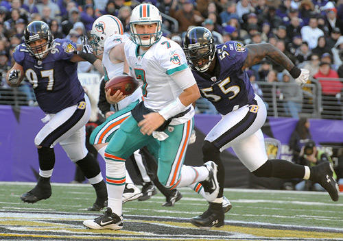 "Dolphins quarterback scrambles as he's pursued by Ravens defenders <a class=""taxInlineTagLink"" id=""PESPT002785"" title=""Kelly Gregg"" href=""/topic/sports/football/kelly-gregg-PESPT002785.topic"">Kelly Gregg</a>, left, and <a class=""taxInlineTagLink"" id=""PESPT000008622"" title=""Terrell Suggs"" href=""/topic/sports/football/terrell-suggs-PESPT000008622.topic"">Terrell Suggs</a>."