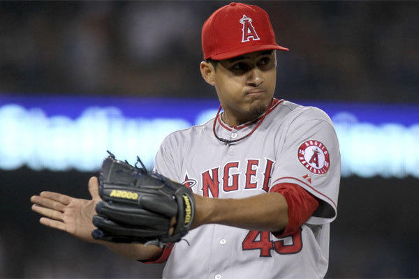 Angels closer Ernesto Frieri reacts after picking up the save against the Dodgers in June 2012.