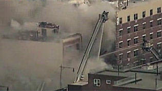 Crews Battle Blaze After NYC Building Collpase
