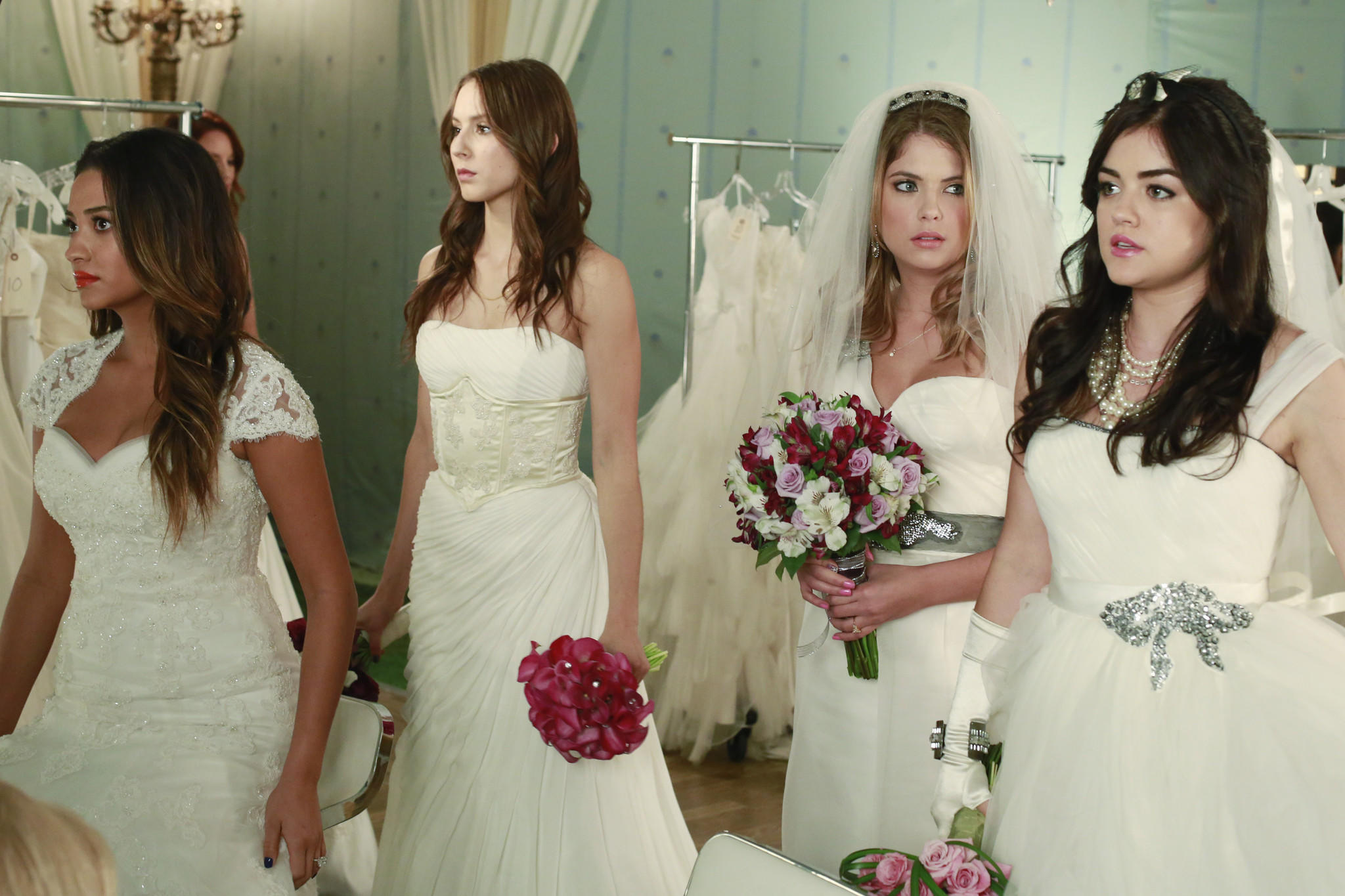 "L-R: Shay Mitchell, Troian Bellisario, Ashley Benson and Lucy Hale on ""Pretty Little Liars."""