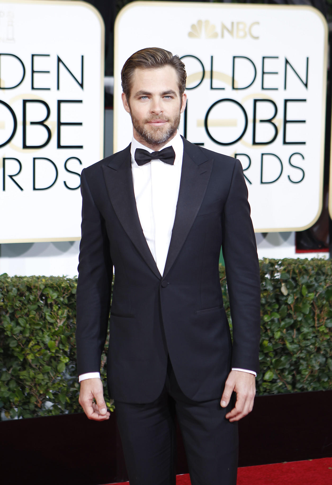 Chris Pine arrives for the 71st Annual Golden Globe Awards show.