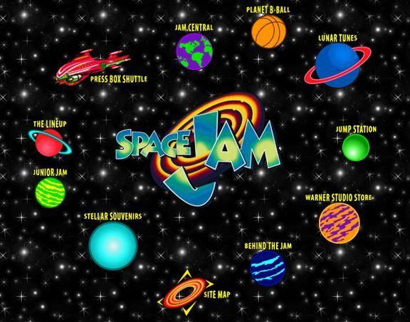 A screen shot of the still functional Space Jam website.