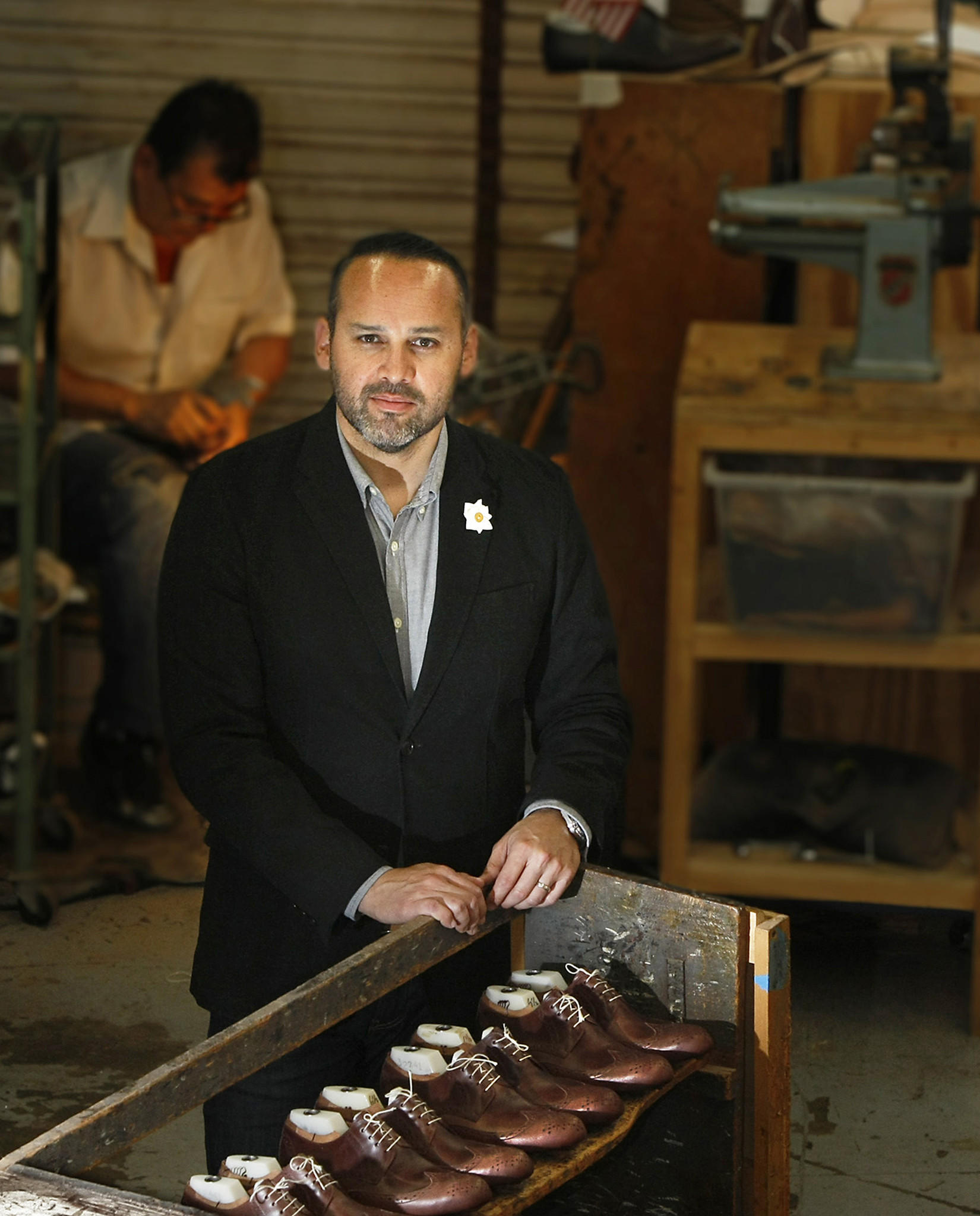 George Esquivel at his custom shoe design and manufacturing company in Buena Park.