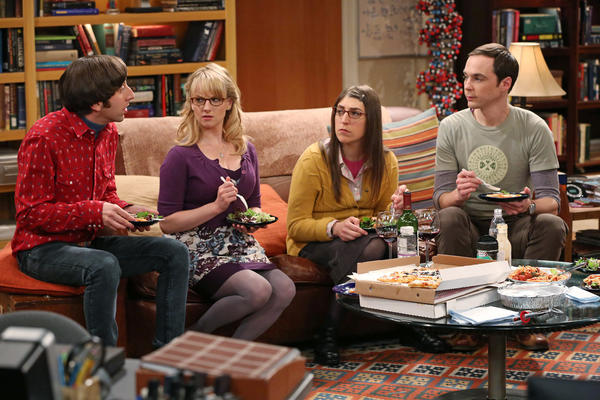 "Simon Helberg, left, Melissa Rauch, Mayim Bialik and Jim Parsons are seen on the hit sitcom ""The Big Bang Theory,"" which CBS says it's renewing for three more years. That would carry the show through its 10th season."
