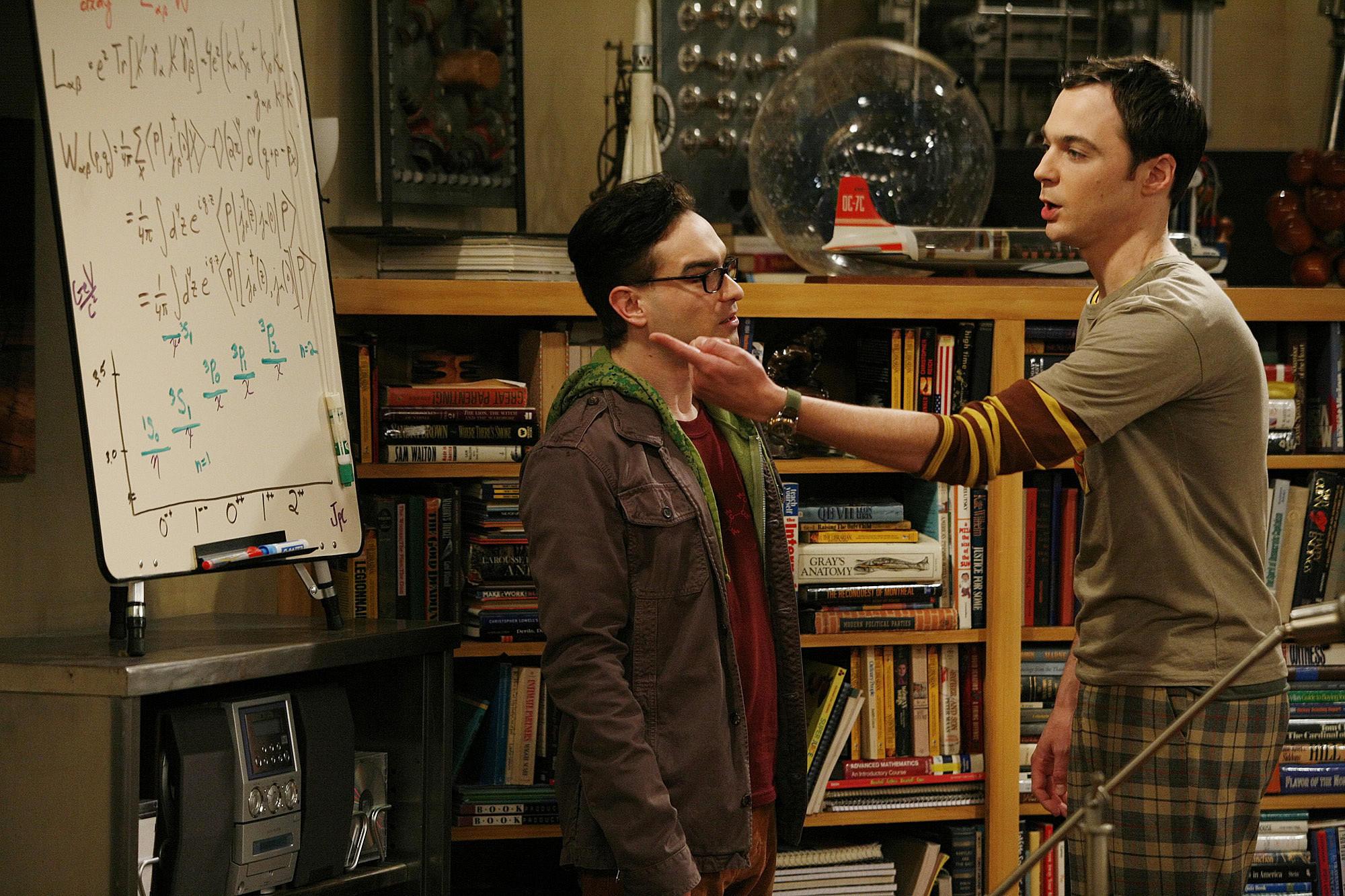 "Johnny Galecki and Jim Parsons in ""The Big Bang Theory."""