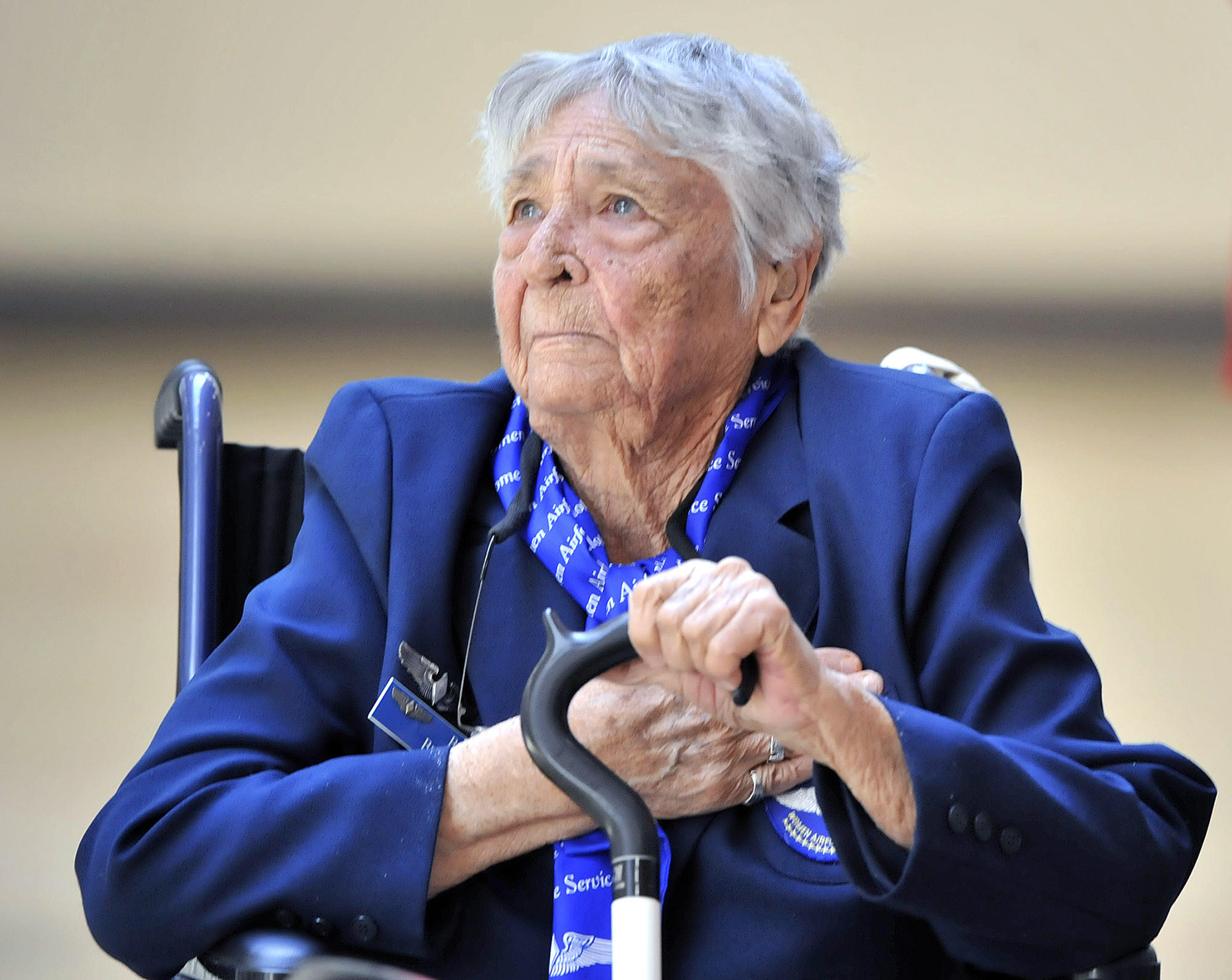 Honoree Beverly Beesemyer puts her hand on her heart during the Pledge of Alegiance at an assembly honoring the 1937 Flintridge Sacred Heart Academy graduate at FSHA on Wednesday, March 12, 2014. Beesemyer was a WASP in WWII, one of a group of women who were the first female aviators in the military. She was honored with the Congressional Medal of Honor in 2010.