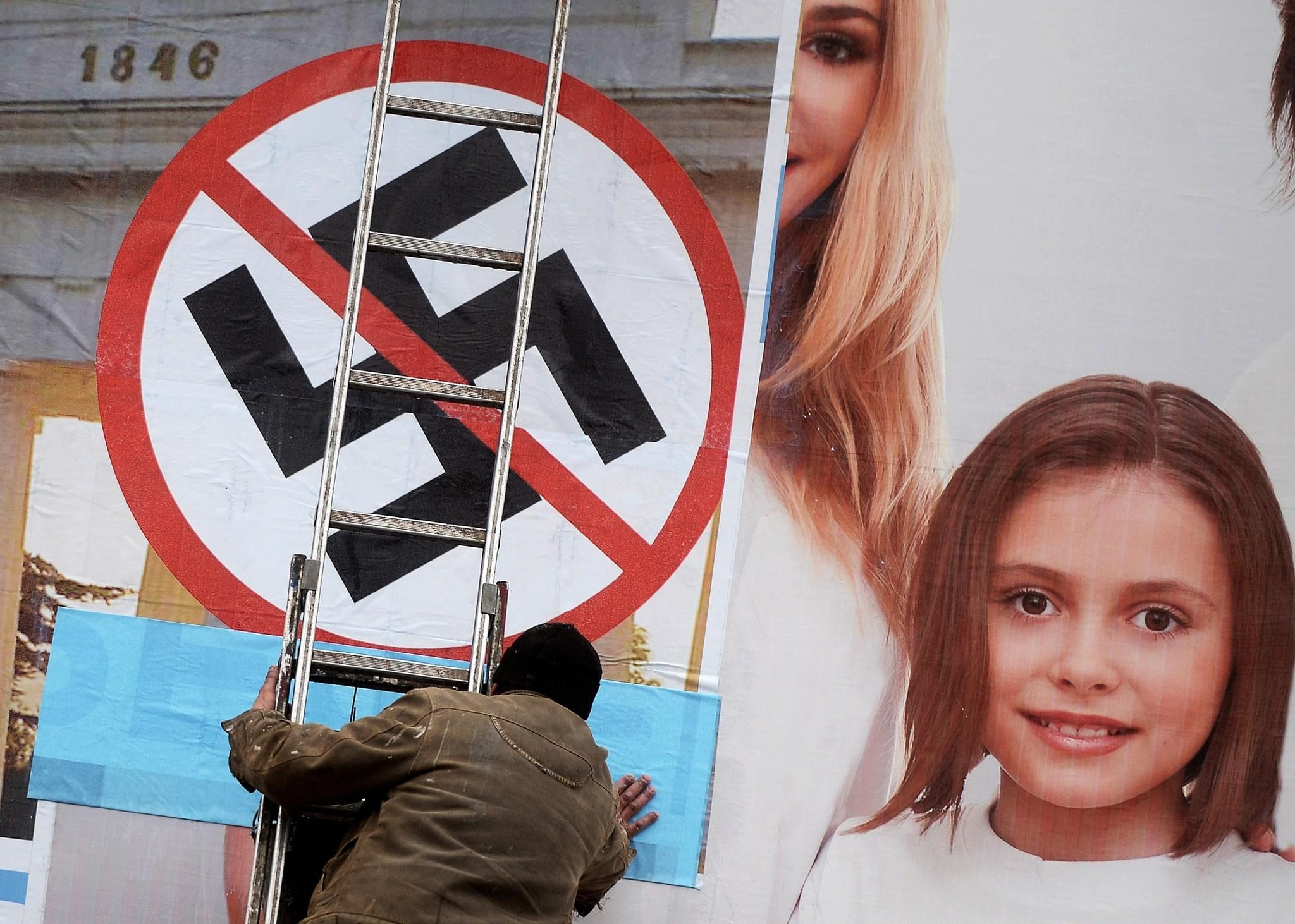 Right-wing extremists in Ukraine sport a symbol similar to the Nazi swastika shown above in Sevastopol.