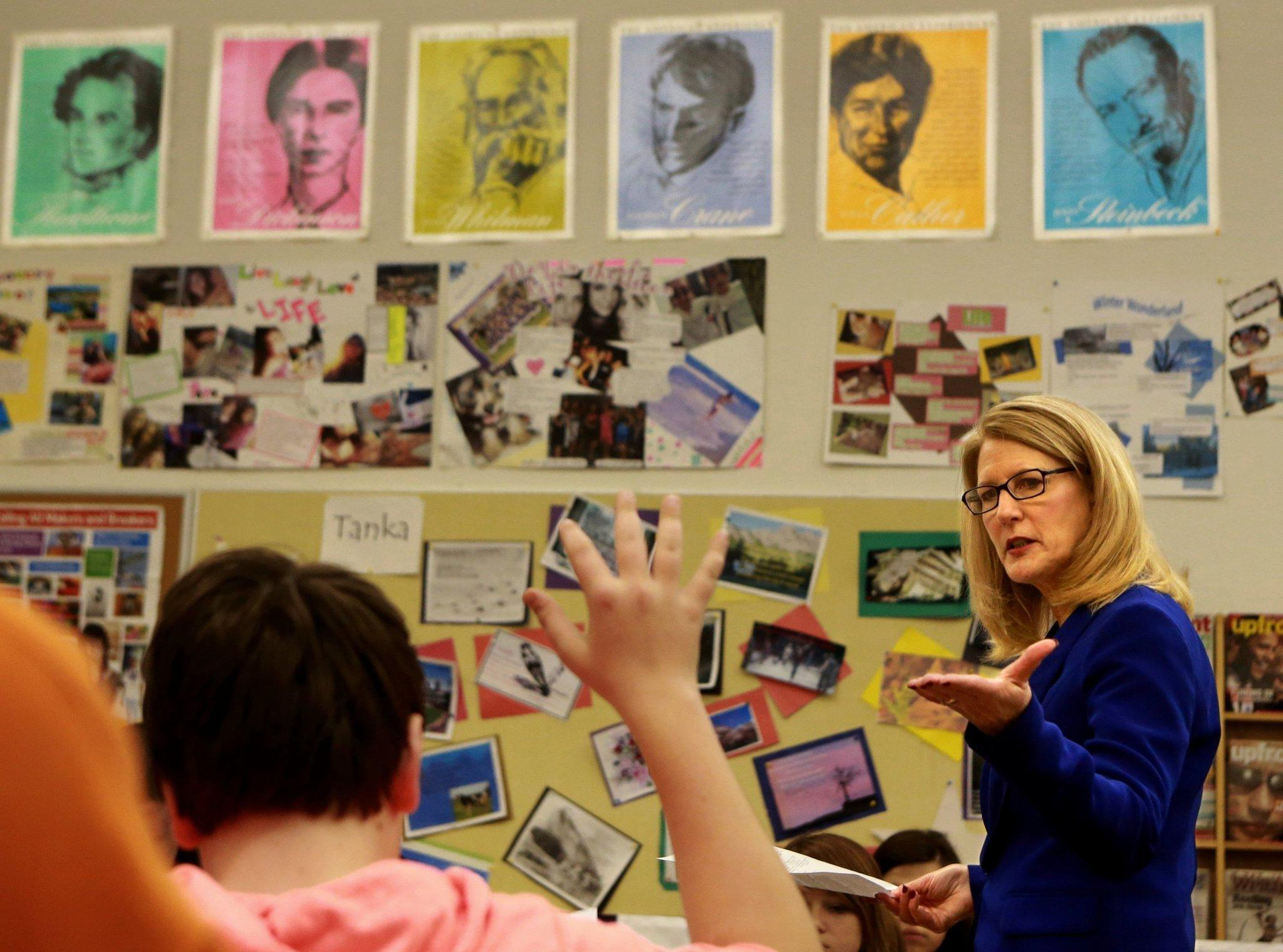 Cathy Cartier, a strong proponent of the Common Core curriculum, teaches an English II class at Affton High School in Affton, Mo.