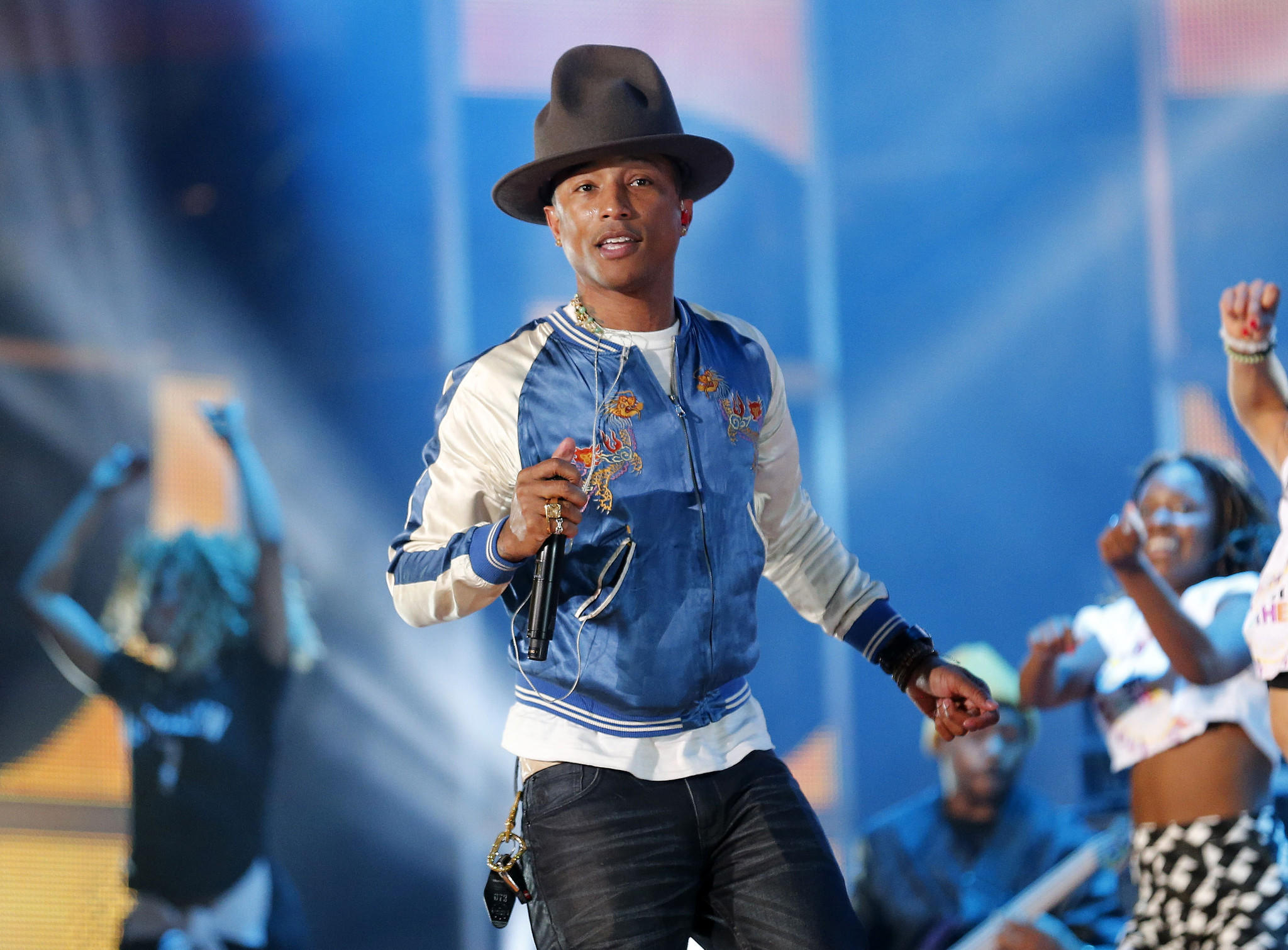 Pharrell Williams in rehearsal during NBA All-Star weekend last month in New Orleans.