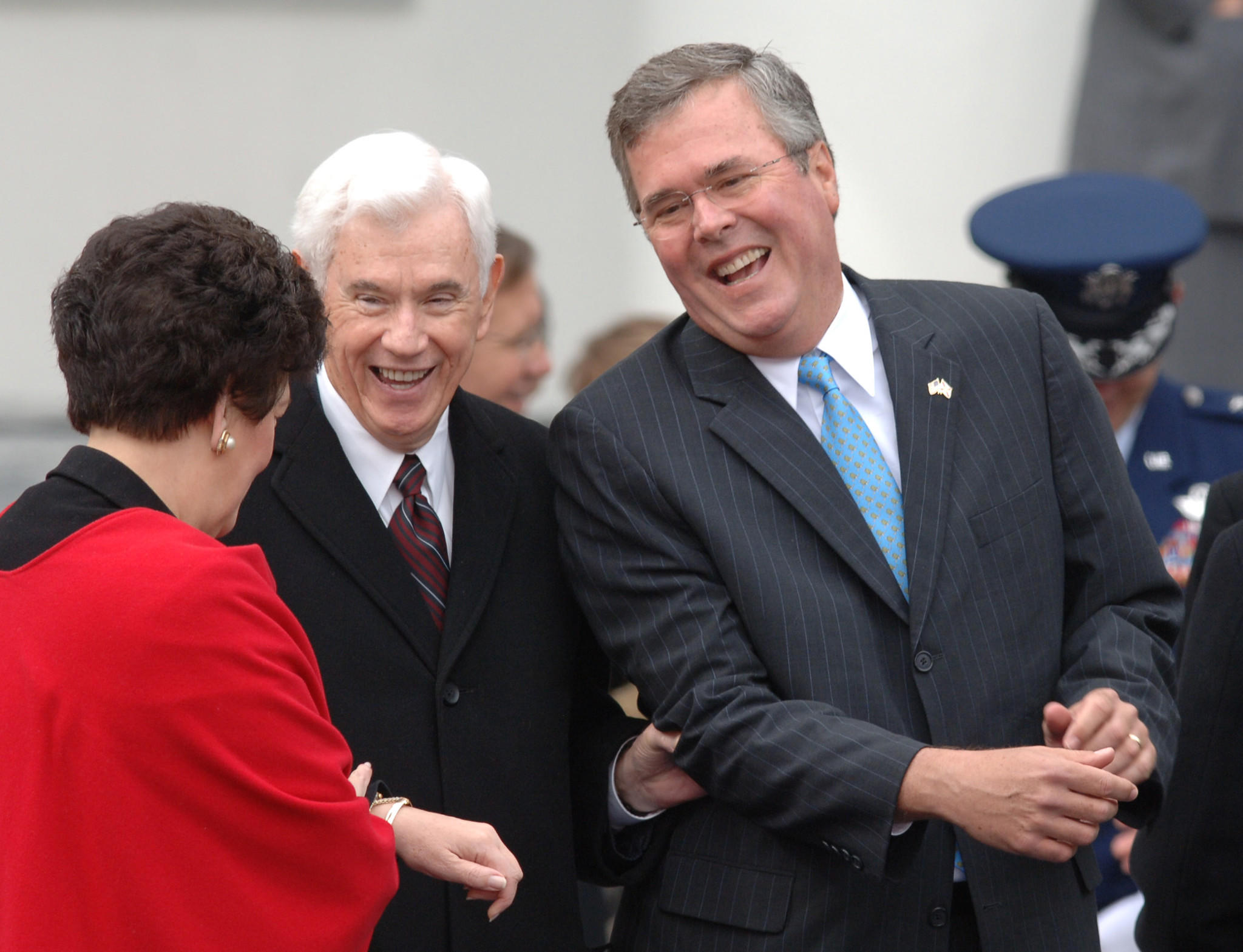 Gov. Jeb Bush shares a laugh with former Governor Reubin Askew and Lt. Gov. Toni Jennings shortly before Charlie Crist was sworn-in as the 44th governor of Florida, at the Old Capitol, in Tallahassee, Tuesday, January 2, 2007.